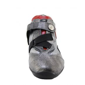 SNEAKERS LOW CALF/FABRIC SILVER LAMIN ALLACC STRAP BOTTOM RUBBER, GRAY G LOGO RED PATENT LEATHER