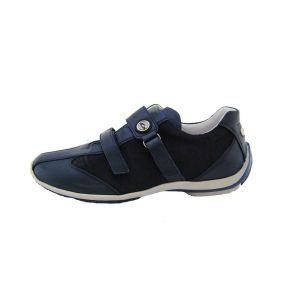 SNEAKERS LOW CALF/FABRIC BLUE BOTTOM WHITE RUBBER ALLAC STRAP G LOGO