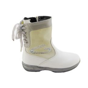 BOOTIE VERN/CAMOSC WHITE/GREY BOTTOM RUBBER GREY BOW VELVET GREY G LOGO RHINESTONES