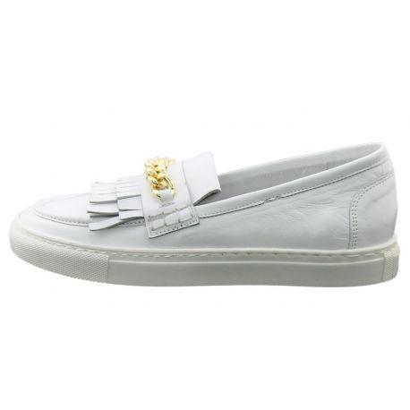Mocassino Sneakers Lea Gu in pelle bianco
