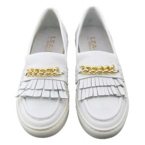 Mocassino Sneakers Lea Gu in pelle bianco