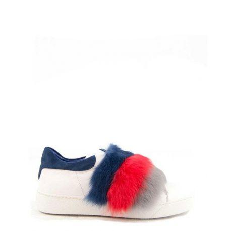 sneaker in pelle con 2 coppie di fasce interscambiabili