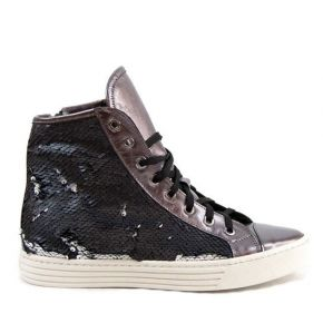Leather sneakers with sequins details