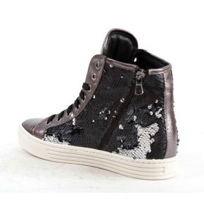Sneakers laminated leather gunmetal with sequins details