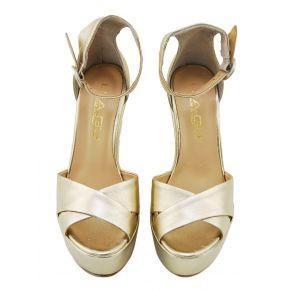 Zeppa Sandalo Lea Gu in pelle laminata oro