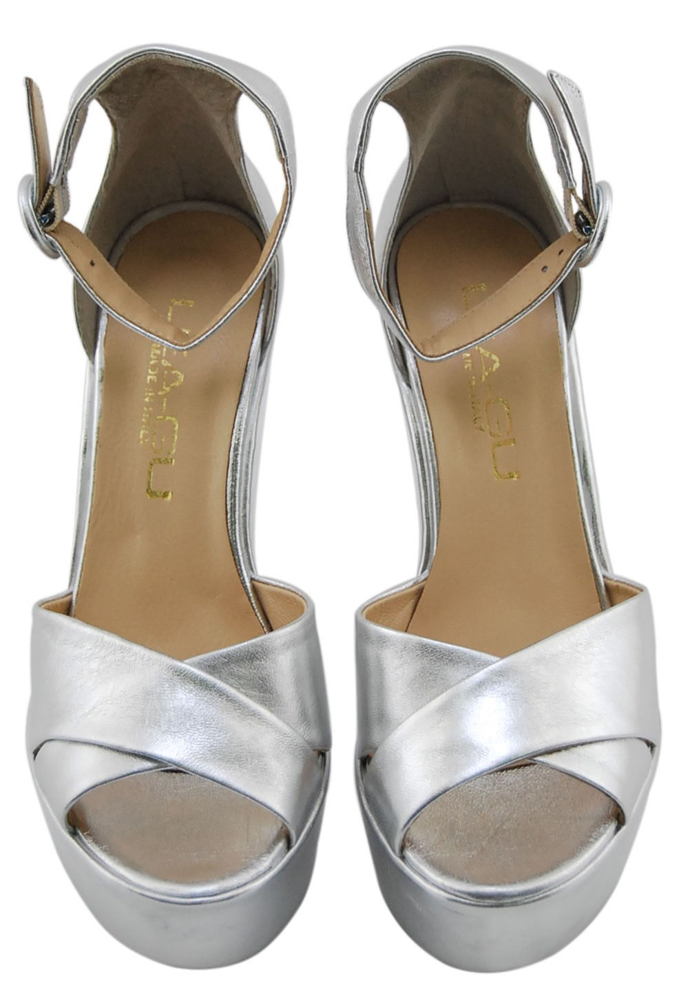 Wedge Sandal Lea Gu In Silver Laminated Leather