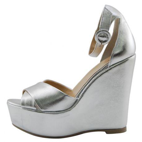 Zeppa Sandalo Lea Gu in pelle laminata argento