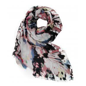 Pashmina schal-print mit schmetterlingen in den farben rosa und schwarz