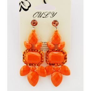 Earrings to pendants studded with stones and rhinestones, orange