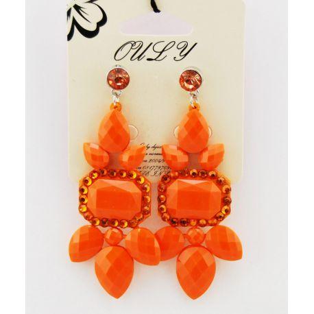 Orecchini a pendenti tempestati di pietre e strass di color arancio
