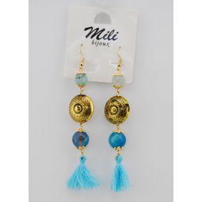 Ohrringe anhänger metall bestickt, gold-und kugelförmigen anhänger türkis