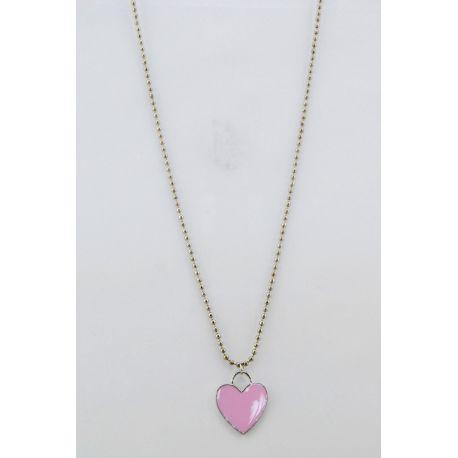 Collana a catenella color argento con cuore a pendente rosa