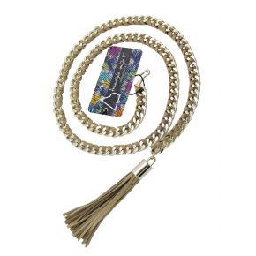 Cintura di catena oro con camoscio intrecciato tortora e nappino tortora