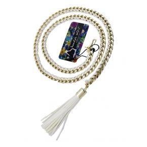 Cintura di catena oro con camoscio intrecciato bianco e nappino bianco