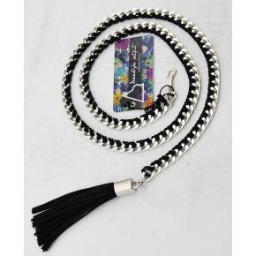 Cinturón de cadena de plata con gamuza trenzado negro y nappino negro