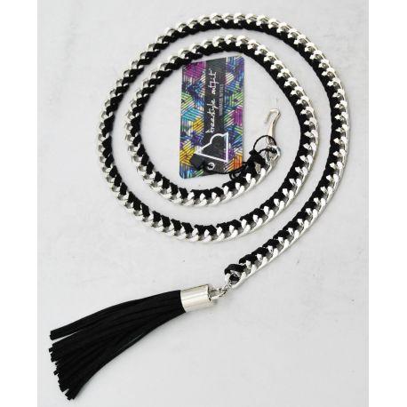Cintura di catena argento con camoscio intrecciato nero e nappino nero