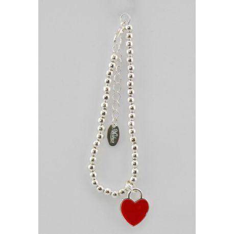 Bracciale di perline di colore argento e pendente a forma di cuore di colore rosso