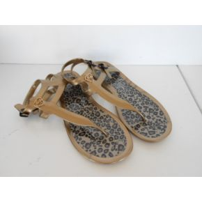 FLIP FLOPS BEACH RUBBER GOLD AND DAPPLED LIU JO