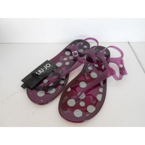 FLIP FLOPS BEACH RUBBER PURPLE WHITE POLKA DOTS LIU JO