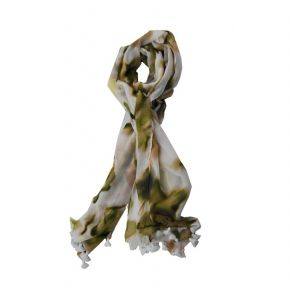 Scarf, Twin Set vanilla with green flowers