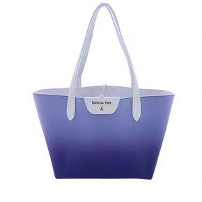 Sac Shopping par Patrizia Pepe réversible bleu blanc mettant en scène des dégradés