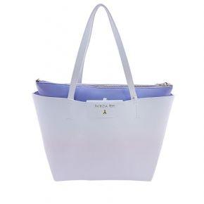 Borsa shopping Patrizia Pepe reversibile blu bianca degradè