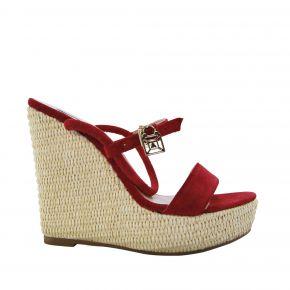 Sandale von Patrizia Pepe mit keilabsatz in wildleder rot