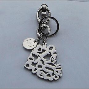Weißer Liu Jo key ring heart nikel