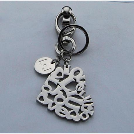 Portachiave Liu Jo key ring heart nikel