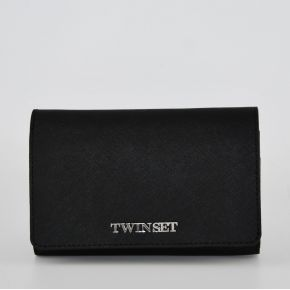 Wallet with flap-Twin Set black Simona Barbieri