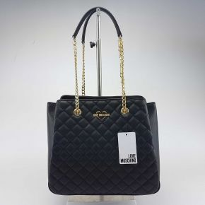 Borsa shopping Love Moschino trapuntata nera