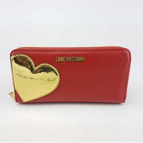 Portafoglio Love Moschino con cuore rosso oro
