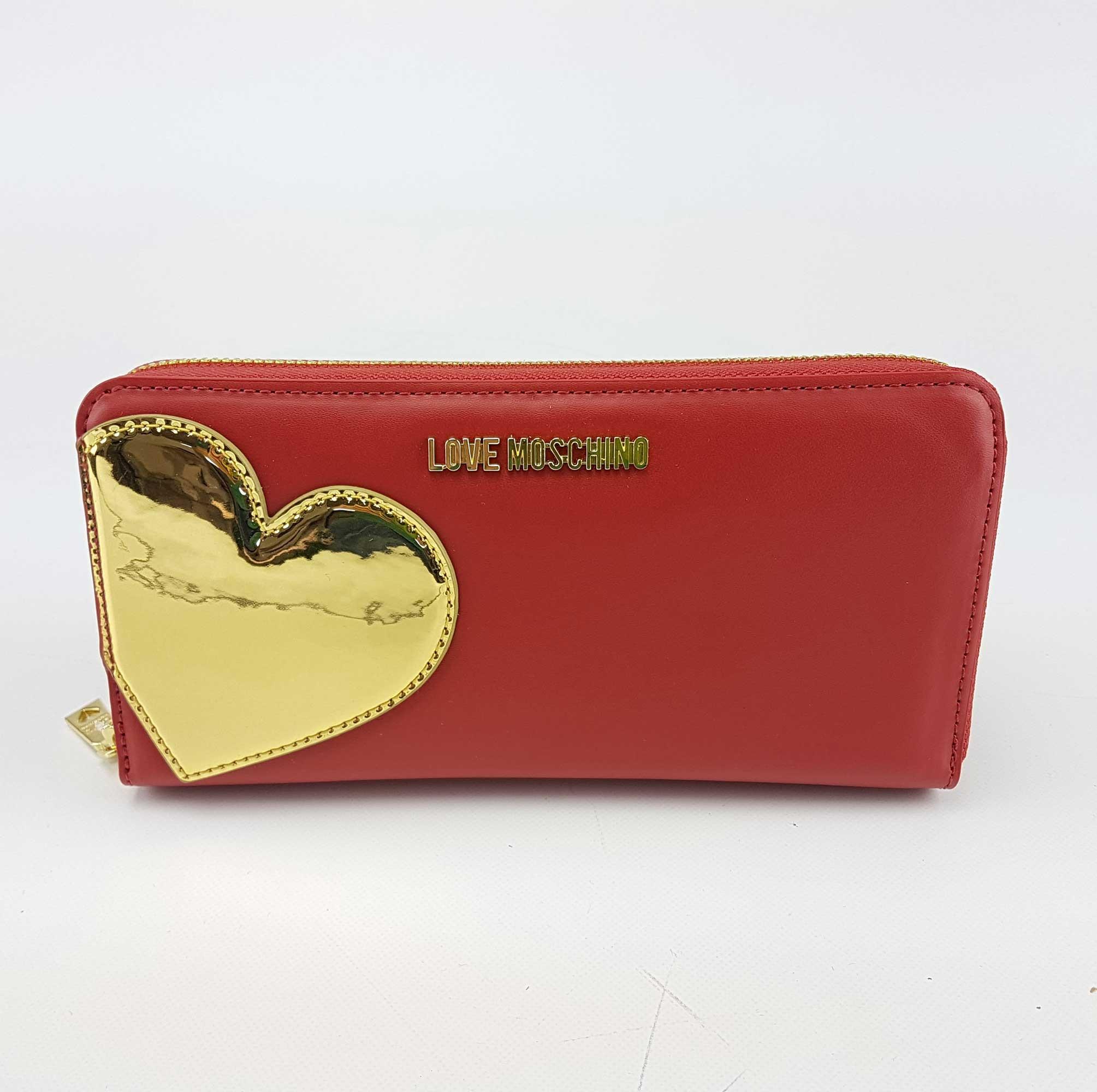 9c9d900b20 Portafoglio Love Moschino con cuore rosso oro