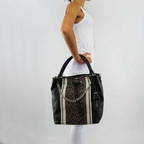 Bolsa de bolsa de balde Liu Jo stern impreso de mármol negro