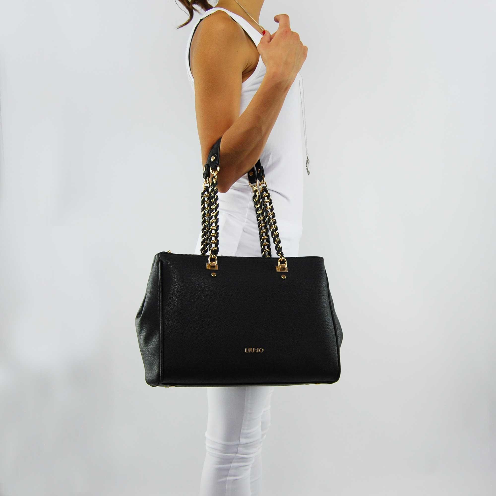 Shopping bag Liu Jo, l, andw anna chain black