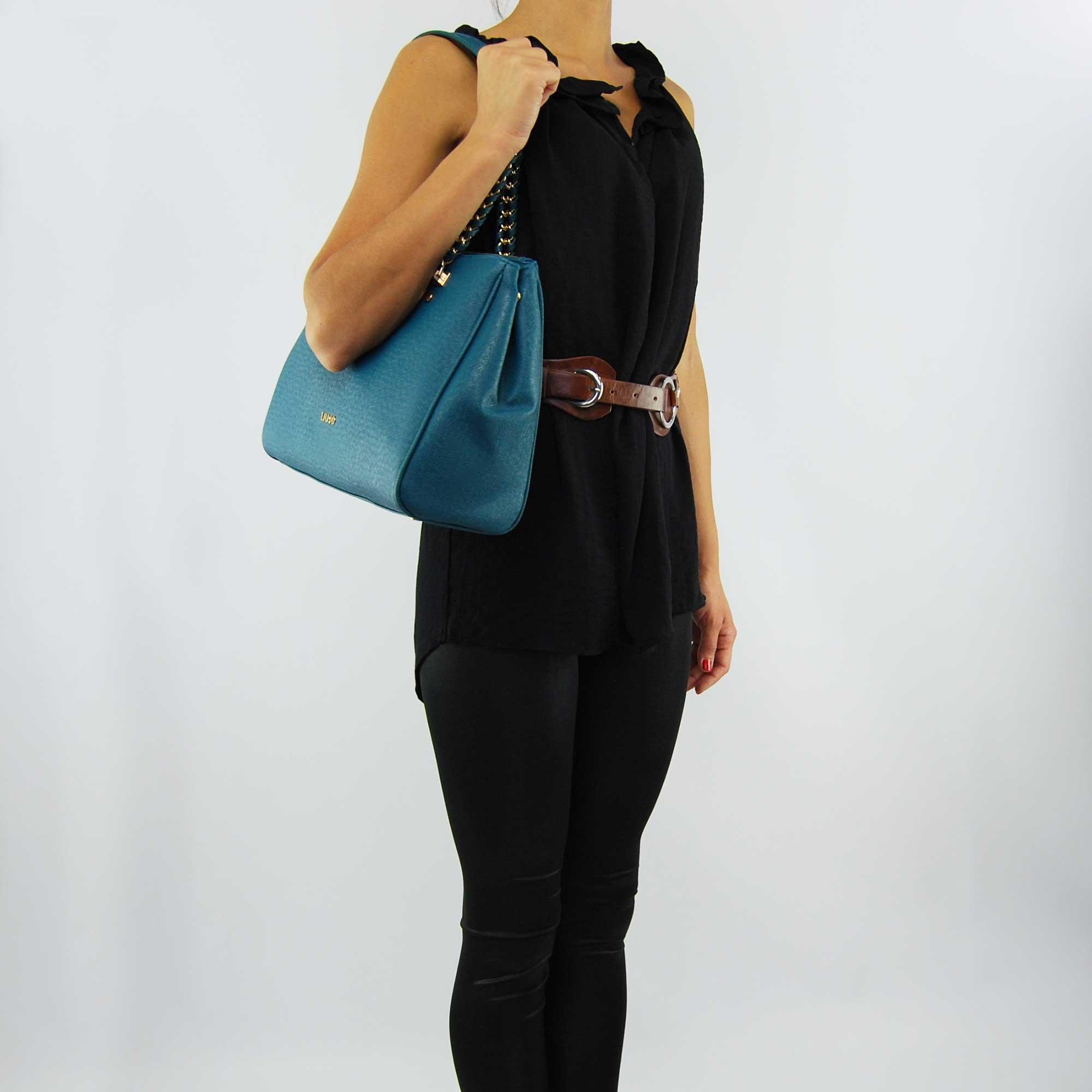 Shopping bag Liu Jo, l, andw anna chain green oil deep ocean