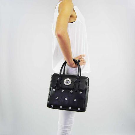 Borsa bauletto Versace Jeans grana rivetti nera