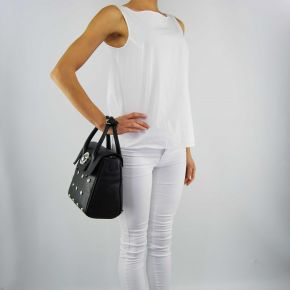 Tasche topcase Versace Jeans körnung nieten schwarz