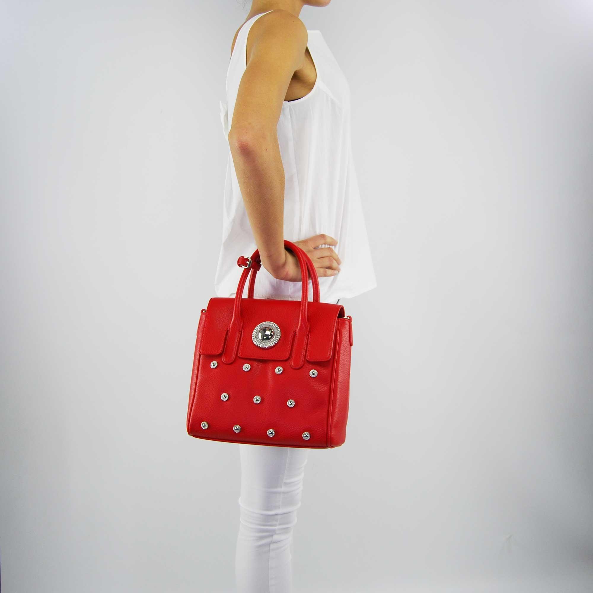 Sac sacoche Versace Jeans texture avec des rivets rouge 54772f80f4e