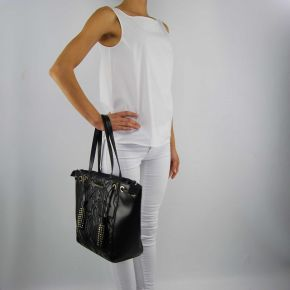 Borsa shopping Versace Jeans nappa biker nera