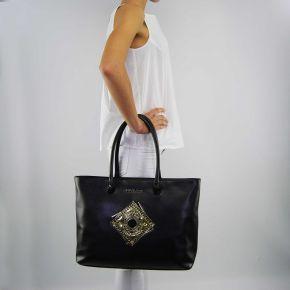 Borsa shopping Versace Jeans nappa nera