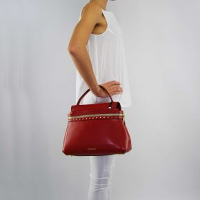 Bag satchel Twin-Set Cécile Deux leather ruby red