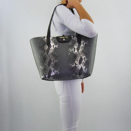 Borsa shopping Patrizia Pepe grigio gray silver python
