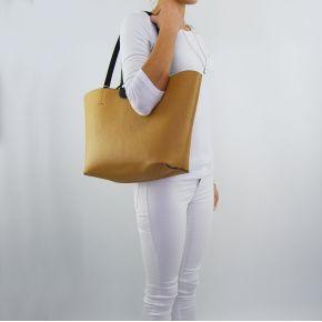 Borsa shopping Patrizia Pepe reversibile black clear beige