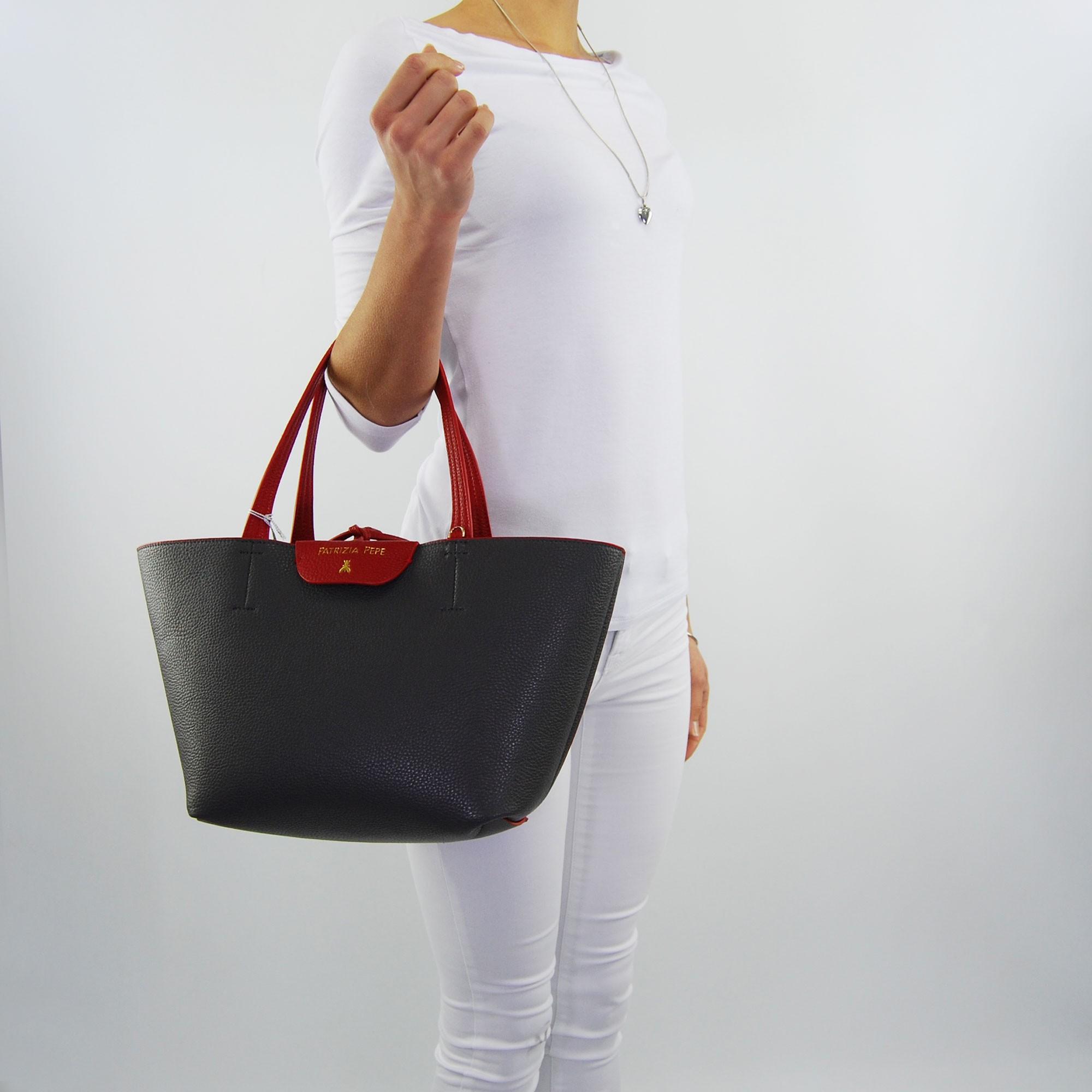 3210c94732 Shopping bag by Patrizia Pepe reversible matt red dark grey