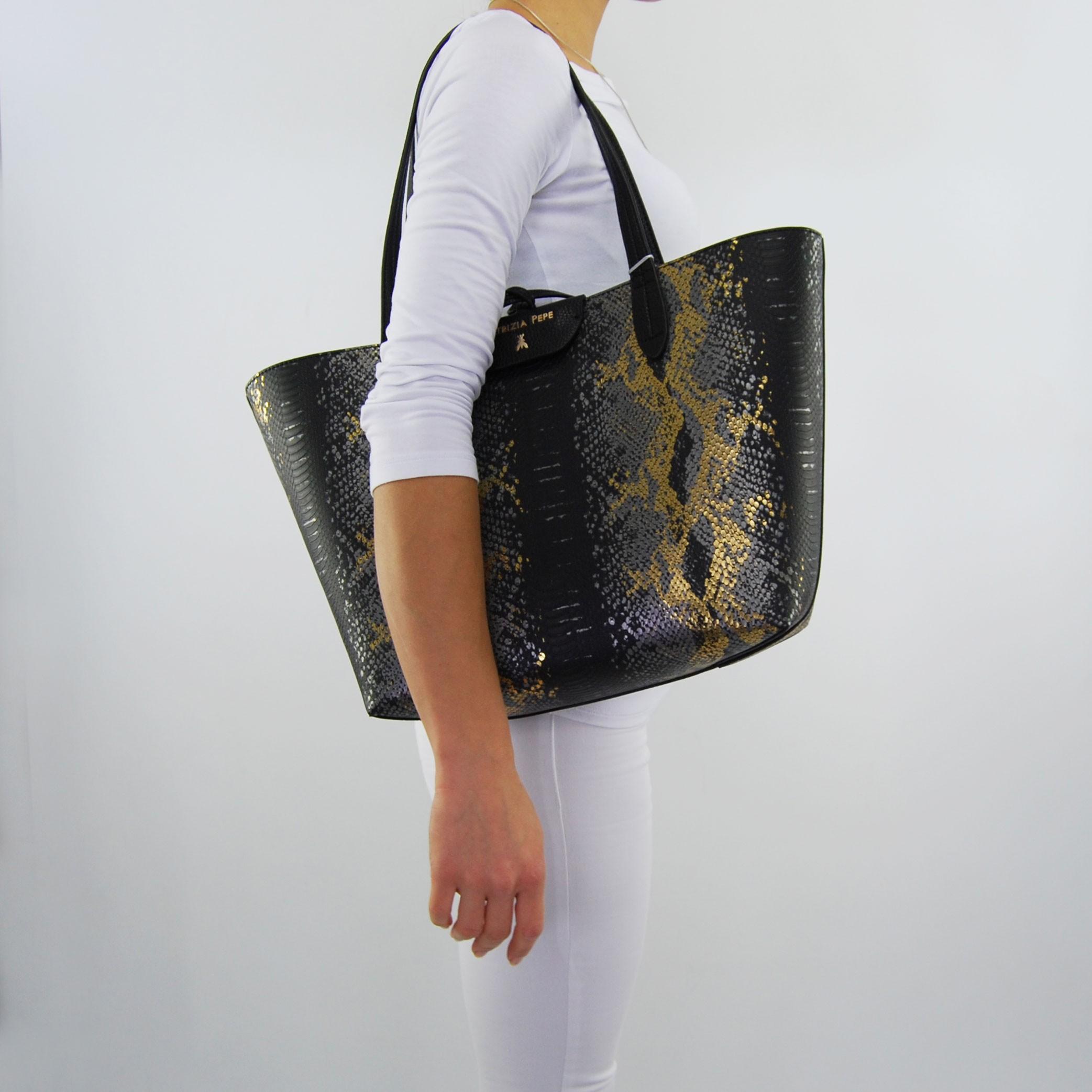 7d268882df Shopping bag reversible Patrizia Pepe black gold python. Tap to expand