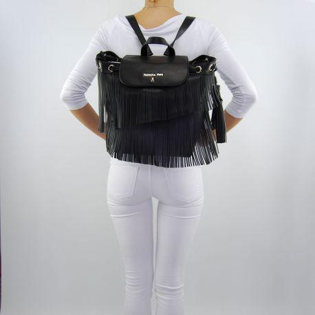 Rucksack handtasche von Patrizia Pepe mit fransen schwarz