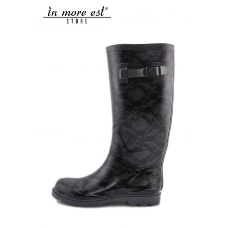 BOOT RAIN RUBBER BLACK/GRAY LACE PRINT SIDE BUCKLE CLOSURE LIU JO