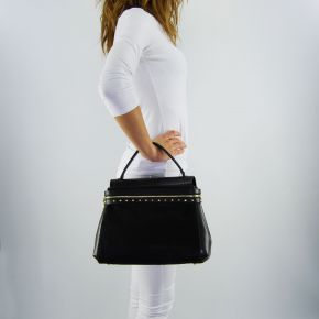 Bag satchel Twin-Set Cécile Deux black leather