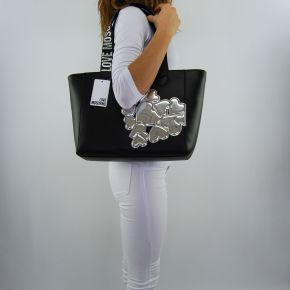 Shopping bag Love Moschino black hearts silver